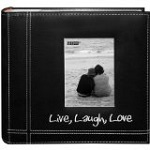Embroidered Live, Laugh, Love Black Sewn Leatherette Frame