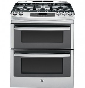 "GE PGS950SEFSS Profile 30"" Stainless Steel Gas Slide-In Sealed Burner Double Oven Range"
