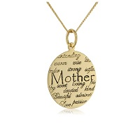 "Sterling Silver ""Mom"" Circle Graffiti Pendant Necklace"