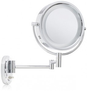 Jerdon HL65N 8-Inch Lighted Wall Mount Makeup Mirror