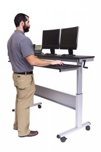 """60"""" Crank Adjustable Height Sit to Stand Up Desk with Heavy Duty Steel Frame"""