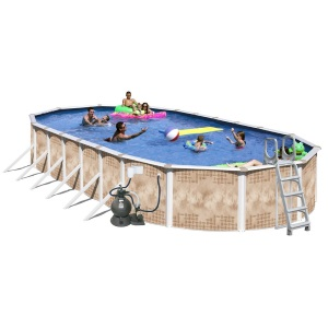 Splash Pools Oval Deluxe Pool Package 30-Feet by 15-Feet by 52-Inch