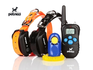 Petness Waterproof TPU Electric Remote Training Collar for 2 Dogs